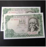 España - 1000 Pesetas 1971 - José Echegaray (Pareja de Billetes consecutivos)