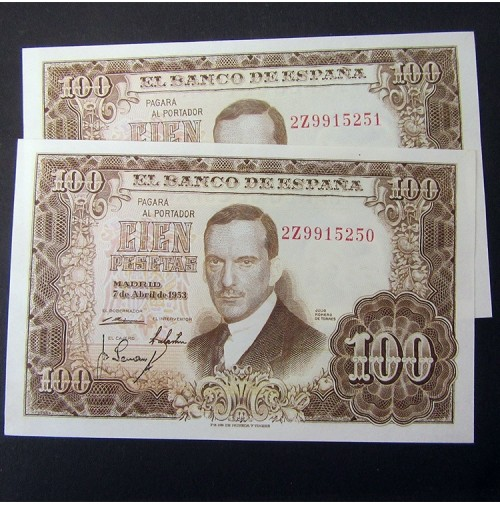 España - 100 Pesetas 1953 - Julio Romero de Torres (Pareja de billetes consecutivos Sin Circular)