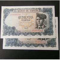 España - 500 Pesetas 1971 - Jacinto Verdaguer (Pareja de Billetes consecutivos)
