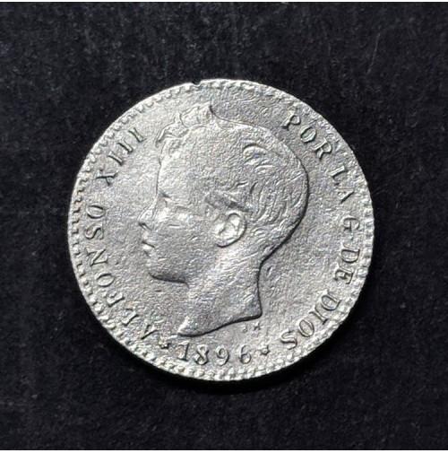 España - 50 céntimos de plata de Alfonso XIII de 1896 *9 *6