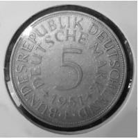 Alemania - 5 Marcos de 1951 F de Plata