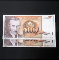 Yugoslavia - Pareja de billetes de 1000 Dinara de 1990 (Nikola Tesla)