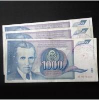 Yugoslavia - Lote de 3 billetes de 1000 Dinara de 1991 (Nikola Tesla)