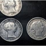 España - Lote de Monedas de 1 Real de Plata de Isabel II