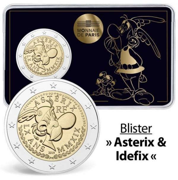 Francia - 2 euros conmemorativos  2019. Moneda dedicada al 60 Aniversario de Astérix. La misma moneda presentada en 3 blisters oficiales diferentes.