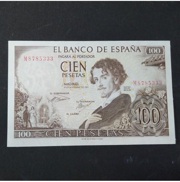 España - Billete de 100 Pesetas de 1965 (ERROR)