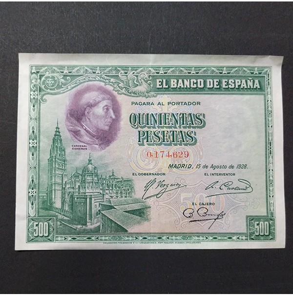 España - 500 Pesetas 1928 - Cardenal Cisneros