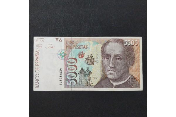 España - 5000 Pesetas 1992 - Cristóbal Colón