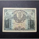 España - 50 Pesetas 1907 - Billete de El Banco de España SIN SERIE