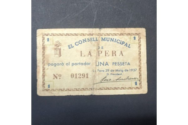 España - Billete de 1 Peseta Consell Municipal La Pera