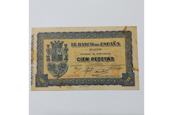 España - 100 Pesetas de Gijón de 1937 Sin Serie
