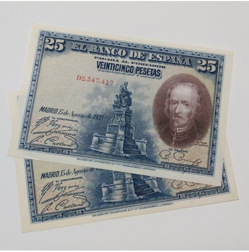 España - Pareja de billetes de 25 Pesetas 1928 consecutivos - Calderón de la Barca