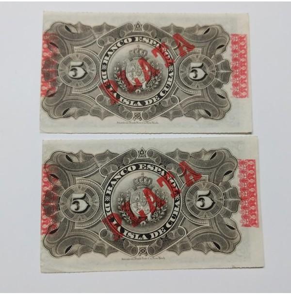 España - Pareja de Billetes de 5 Pesos de 1896 Isla de Cuba consecutivos