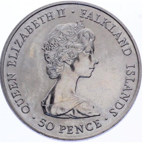 Falkland - 50 Peniques de 1980 Aniversario Reina Madre