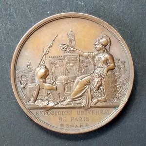 Medalla de Bronce Exposición Universal de París ESPAÑA 1878