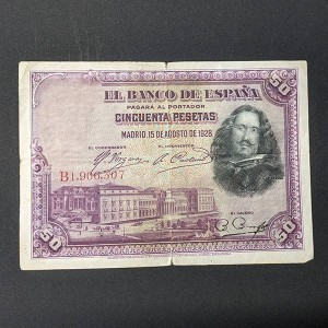 España - Billete de 50 pesetas de 1928