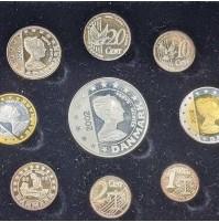 Dinamarca - 2002 Juego de monedas de prueba de euro de plata a prueba de Dinamarca - 9 monedas