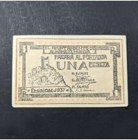 España - Billete Local de 1 Peseta Alhama de Murcia 1937 - República Española
