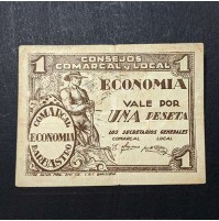 España - Billete de 1 Peseta Barbastro