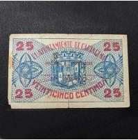España - Billete de 25 céntimos de Cartagena (Guerra Civil)