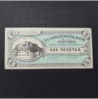España - Billete de 2 Pesetas de Denia de 1936