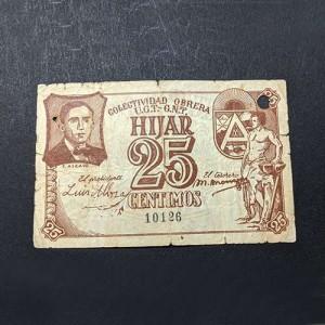España - Billete de 25 céntimos de Hijar (Teruel) de 1936