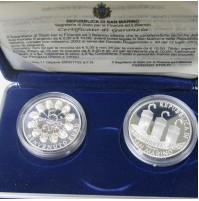 San Marino - 5 y 10 euro de 2002 en Plata