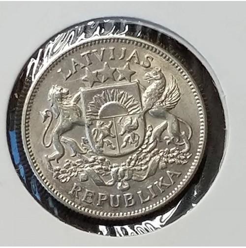 Letonia - 2 Lati 1925 de Plata