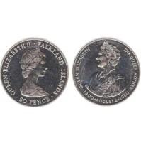 Falkland (Reino Unido) -  50 Peniques de 1980 - 80th cumpleaños de la Reina Madre