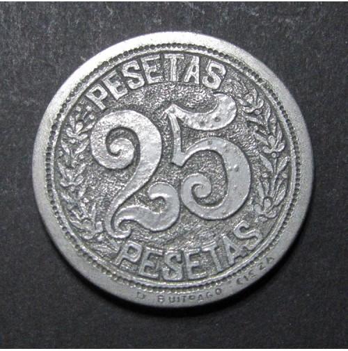 Ficha grande de Casino de 25 pesetas