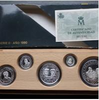 España - V Centenario - Colección 5 Valores plata FDC BRILLO 1990 - Serie II