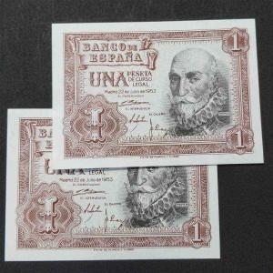 España - 1 Peseta 1953 - Marqués de Santa Cruz (Pareja de billetes)