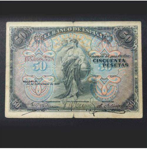 España - 50 Pesetas 1906 - Pareja de Billetes