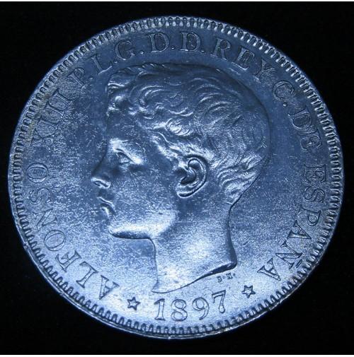 España - 1 Peso de Islas Filipinas 1897 - SG V de Plata