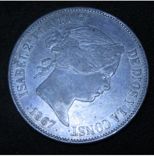 España - 2 Escudos 1867 Isabel II de Plata