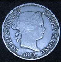 España - 20 Reales 1861 Isabel II - Madrid
