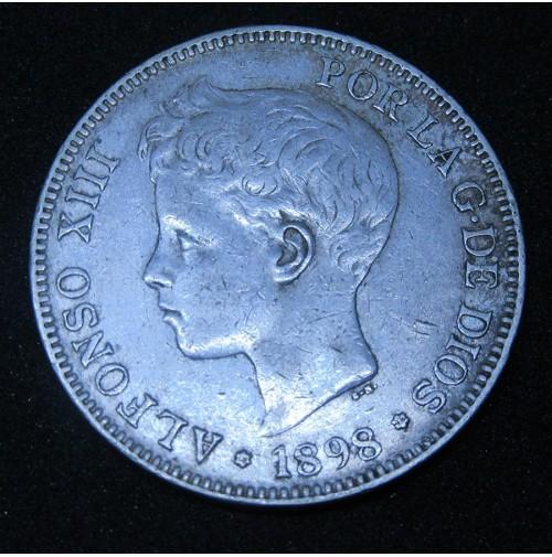 España - 5 Pesetas 1898 *18 *98 SG V de plata