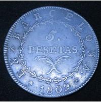 España - 5 Pesetas 1809 de Barcelona