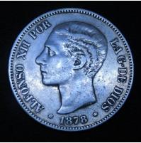 España - 5 Pesetas 1878 *18 *78 EM M - Alfonso XII