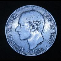 España - 5 Pesetas 1882 *18 *82 MS M Alfonso XII