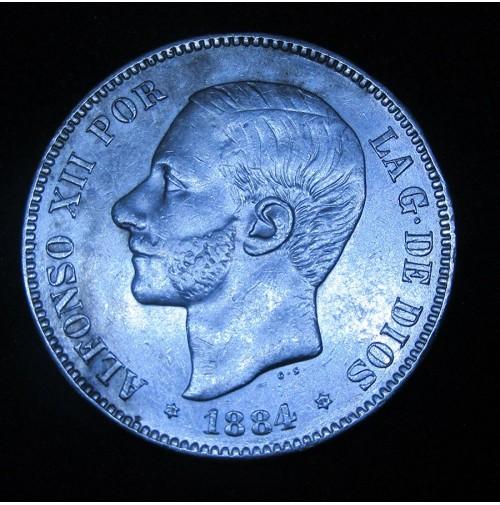 España - 5 Pesetas 1884 *18 *84 MS M Alfonso XII