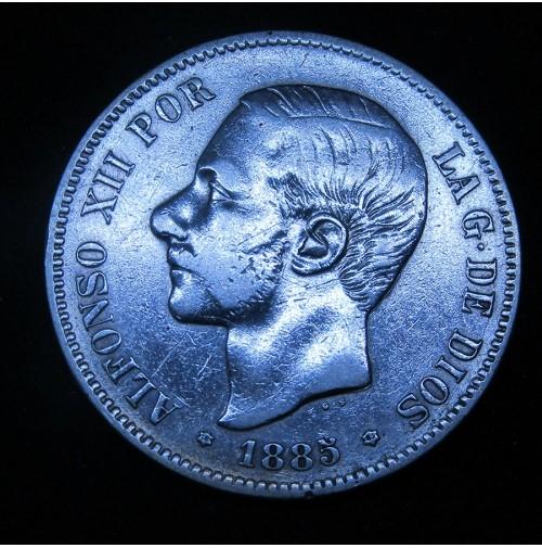España - 5 Pesetas 1885 *18 *85 MS M Alfonso XII