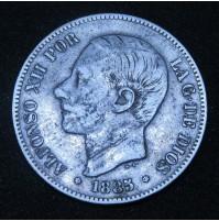 España - 5 Pesetas 1885 *18 *87 MS M Alfonso XII