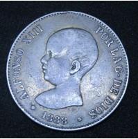 España - 5 Pesetas 1888 *18 *88 MP M Alfonso XIII