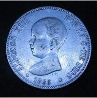 España - 5 Pesetas 1889 *18 *89 MP M Alfonso XIII