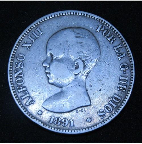 España - 5 Pesetas 1891 *18 *91 PG M Alfonso XIII