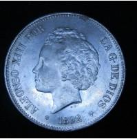 España - 5 Pesetas 1892  *18 *9_ PG M Alfonso XIII (Rizos)