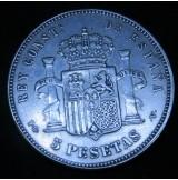 España - 5 Pesetas 1893  *18 *93 PG M Alfonso XIII (Rizos)