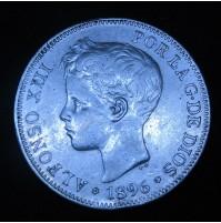 España - 5 Pesetas 1896 *18 *96 PG V Alfonso XIII