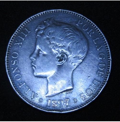 España - 5 Pesetas 1897 *18 *97 SG V Alfonso XIII